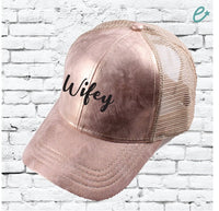 CC Cap Wifey Embroidery Rose Gold Trucker Hat with Tan Mesh Back Baseball Cap Mom Dad Hat Rose Metallic Front 6 Panel Adjustable Wife Gift