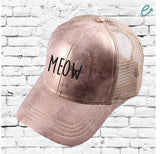 CC Cap Meow Embroidery Rose Gold Trucker Hat with Tan Mesh Back Baseball Cap Dad Hat Rose Metallic Front 6 Panel Adjustable Girl
