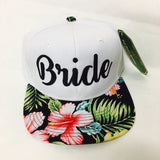 White Bride Embroidery Snapback Hawaiian Floral Print Snapbacks Bachlorette Party Hats Wedding Party Hats