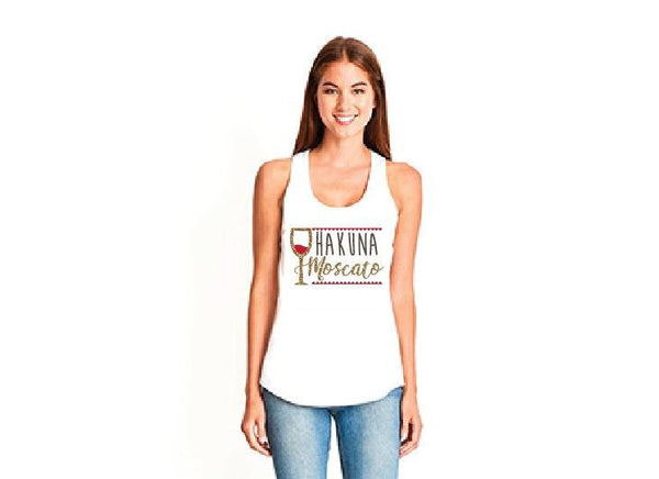 Hakuna Moscato Wine Glass Tank Top Women's Racerback Gathered Back Tank Custom Tank Top Custom Personalized Fitted Tank Sports Wear