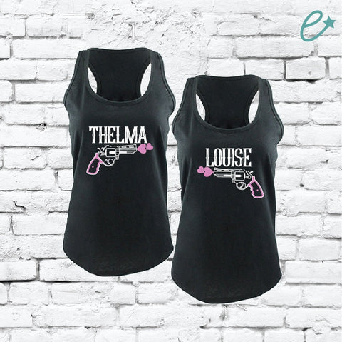 6979073ed Thelma and Louise Tank Tops Fun Funny T-shirt Party Vegas Duo Drinking Tee  Women's