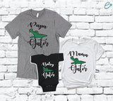 Gator Family Tees Mama Papa and Baby Shirt Set Baby Announcement Graphic Tees Mom & Dad to be Matching Bodysuit