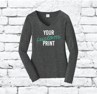Custom Print Ladies Long Sleeve Fan Favorite V-Neck Tee Shirt with Relaxed Fit Sleeves Jersey Knit Top