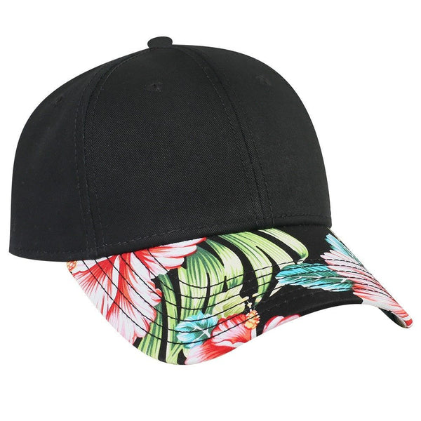 Custom Embroidery Hawaiian Hat Baseball Cap Floral Brim Black Hat Snapback Black Cap with Multicolor Brim