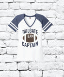 Tailgate Team Captain Print Women's Varsity V-Neck T-shirt Striped Sports Game District Shirt Custom Personalized Relaxed Fit Tee