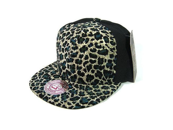 Custom Embroidery Leopard Animal Print Snapback Printed Brim Black Hat Adjustable Custom Cap