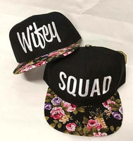 Wifey and Squad Floral Rose Hats Bridal or Bachlorette Party Adjustable Caps Pink and Purple Rose Brim Wedding Friends Group Snapback