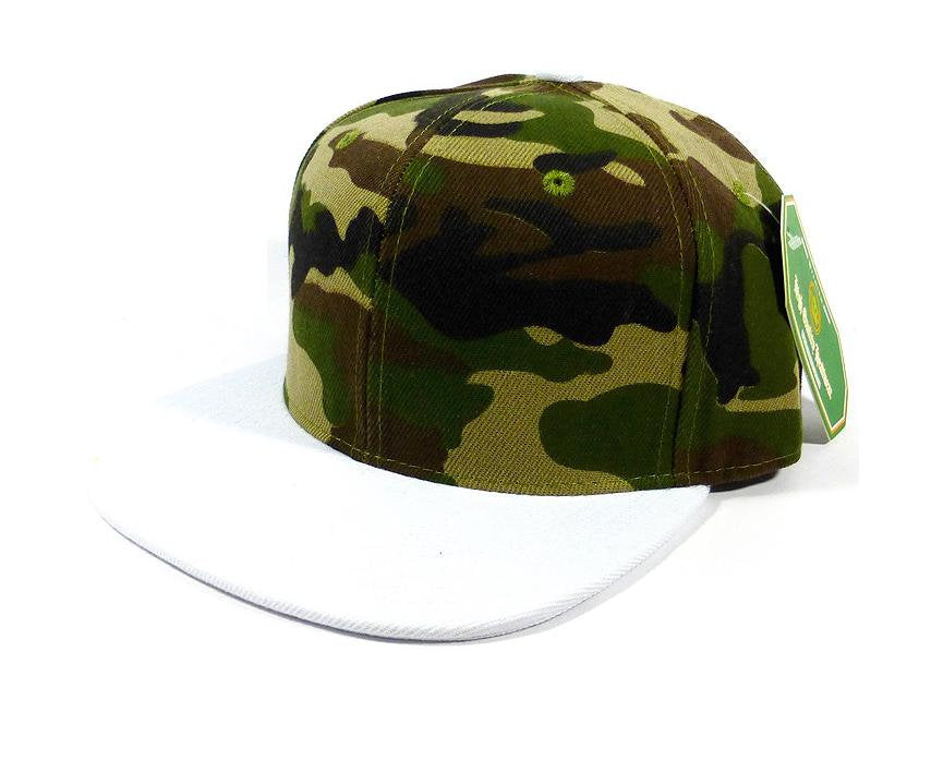Custom Embroidery Camo Hat Snapback Camoflauge Solid Camo Cap White Brim  Snapback Green Army Cap