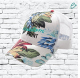 CC Trucker Hat Custom Embroidery Tropical Hawaiian Floral Flowers Leaves Dad Baseball Cap Your Custom Print White Mesh Back Trucker Hat