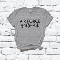Air Force Girlfriend Wifey Print Women's V-Neck T-shirt Military Support Shirt Custom Colors Fitted Tee Family Wife USA