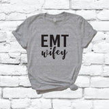 EMT Wifey Print Women's V-Neck T-shirt Military Support Shirt Custom Colors Fitted Tee Family Medical Wife USA