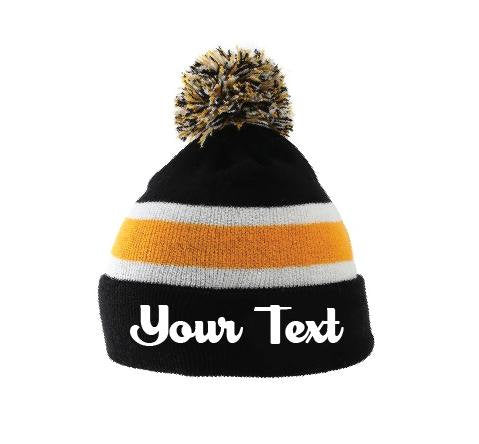 Custom Embroidery Beanie Personalized Pom Pom Beanies Throwback Beanie Skull Cap Custom Gold and Black Stripe Knit Hats