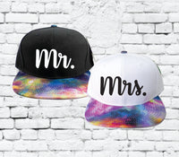 Mr. and Mrs. Snapbacks Custom Print Snapbacks Galaxy Couple Snapback Honeymoon or Couple Hats Newlyweds