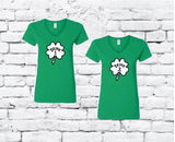 Drunk 1 and Drunk 2 Saint Patricks Day Fun Funny Shamrock T-shirt Fun Couple Tee Women's V-Neck T-shirt Relaxed Fit Tee Holiday