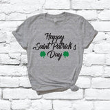 Happy Saint Patricks Day Shamrock Irish Print Women's V-Neck T-shirt Day Shirt Custom Colors Fitted Tee Holiday Shamrocks