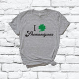I Love Shenanigans Saint Patricks Day Shamrock Irish Print Women's V-Neck T-shirt Day Shirt Custom Colors Fitted Tee Holiday Shamrocks