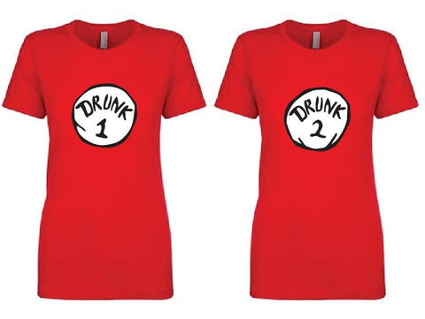 Drunk 1 and Drunk 2 Fun Funny T-shirt Fun Drinking Tee Women's Crew Neck T-shirt Relaxed Fit Tee