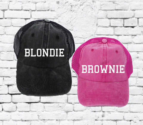 f2bfb15e Blondie and Brownie Embroidery Hat Baseball Cap Pigment Washed Cotton Acid  Wash Custom Embroidery Your Custom