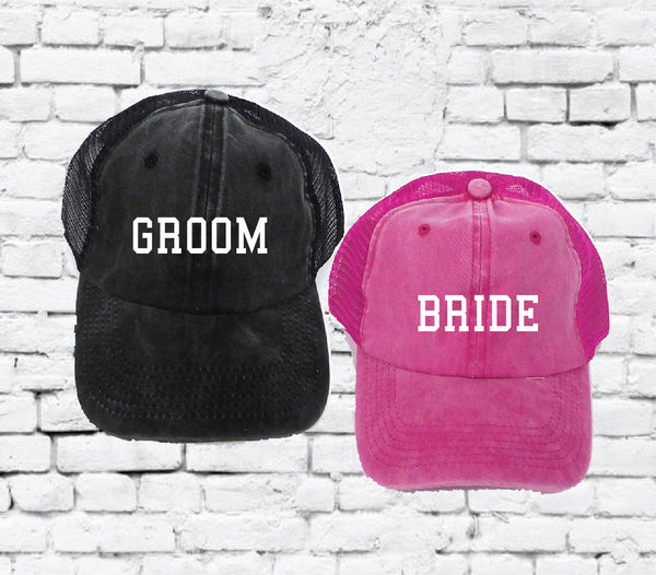 Bride and Groom Embroidery Hat Baseball Cap Pigment Washed Cotton Acid Wash Custom Embroidery Your Custom Print Mesh Back Trucker Hat