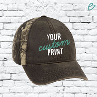 Custom Embroidery Camo Leather Baseball Cap Snapback Mossy Camoflauge Hunting Brim Hat Cap Green Camo Hat Oak Leaves