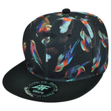 Custom Embroidery Hat Sparrow Bird Snapback Black Cap with Colorful Bird Cap Printed Hat