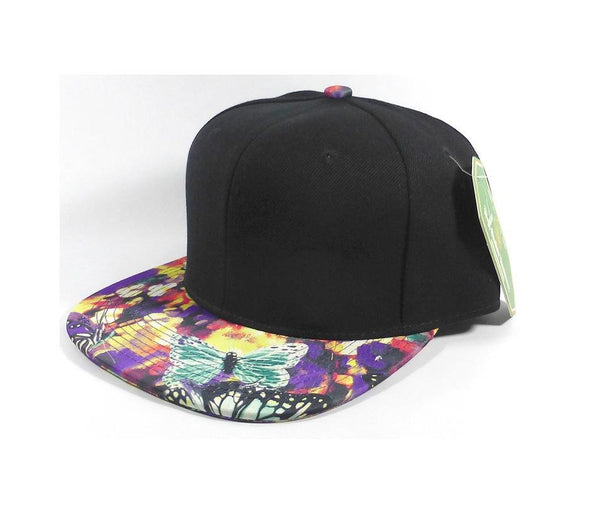 Custom Embroidery Hat Green and Purple Floral Snapback Black Cap with Butterfly Hat