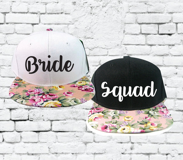 Bride and Squad Snapbacks Light Pink Floral Print Snapbacks Bachlorette Party Hats Wedding Party Hats Bridal Party Hats