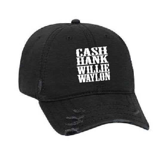 Custom Embroidery Ripped Adult Distressed Dad Cash Hank Willie Waylon Hat 6 Panel Low Profile Twill Superior Washed Cotton Baseball Cap