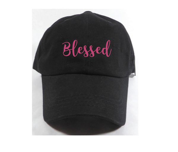 Blessed Unstructured Dad Hat Life is a blessing Hat Light Pink, Navy and White or Your Color Choice