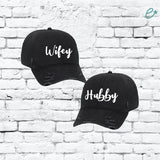 Wifey and Hubby Embroidery Ripped Adult Distressed Dad Wife Hubs Couples Hat 6 Panel Low Profile Twill Superior Washed Cotton Baseball Cap