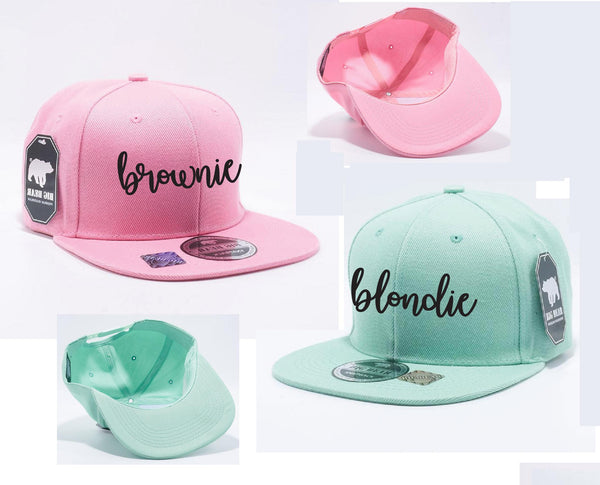Blondie and Brownie Snapbacks Flat Brim Best Friends Hats Custom Print Snapbacks Baby Announcement Couple Hats BFF