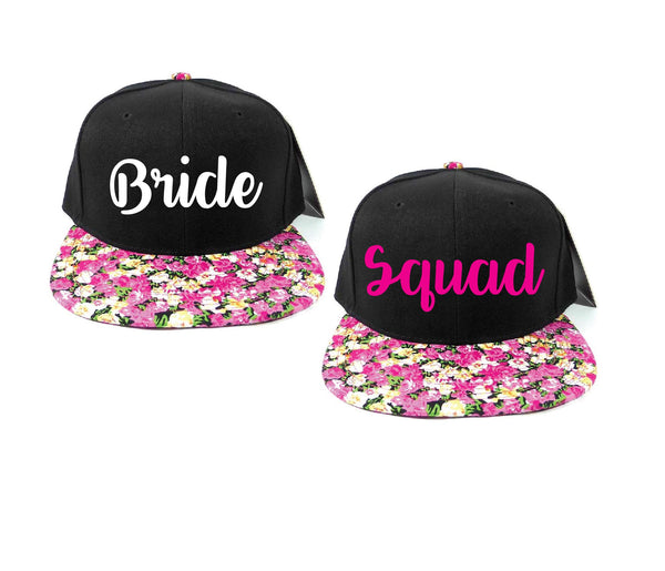 Bride and Squad Snapbacks Light Pink Floral Small Daisy Print Snapbacks Bachlorette Party Hats Wedding Party Hats Bridal Party Hats
