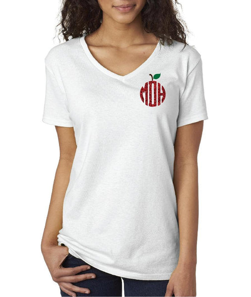 Apple Monogram T-shirt Teacher Graphic Tee Women's V-Neck T-shirt Relaxed Fit Tee