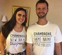 Champagne Same and New Name Honeymoon Tees Couples Funny Graphic Tee and Tank Top Shirt Unisex T-shirt Gift for Wedding Newlyweds Last Name
