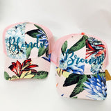Blondie and Brownie Blonde and Brunette Floral Hats Best Friends Mesh Back CC Trucker Hat Pair BFF