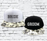 Bride Groom Couples Hats Black and White Floral Snapbacks Black Hats Couple Hats Wedding Party Honeymoon Hats