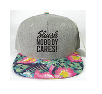 Shush Nobody Cares Heather Grey Floral Snapback Print Navy Brim Hawaiian Hibiscus Black Hat Adjustable Custom Cap Flower Allover