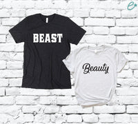 Beast and Beauty Couples Graphic Tee Pair Shirts His and Hers Unisex T-shirt