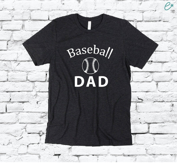 Baseball Dad Print Men's Crew Neck Father T-shirt Graphic Tee Team Custom Soft Relaxed Shirt Retail Fit Tee Sports