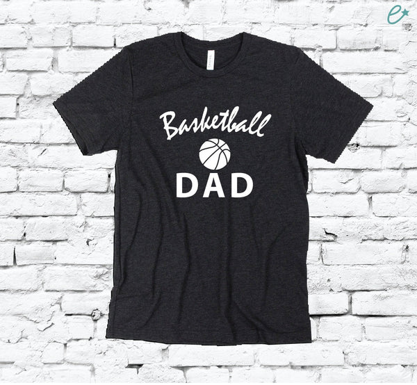 Basketball Dad Print Men's Crew Neck Father T-shirt Graphic Tee Team Custom Soft Relaxed Shirt Retail Fit Tee Sports