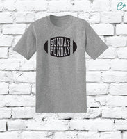 Sunday Funday Custom Print Men's Crew Neck Super Bowl Football Party Sports T-shirt Graphic Tee Soft Relaxed Shirt Retail Fit Tee