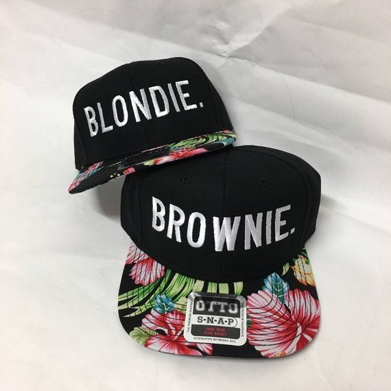 Blondie and Brownie Hawaiian Snapback Hats Block Lettering Blonde and  Brunette Hats Best Friend Snapbacks Flatbill Hats Couple Pair