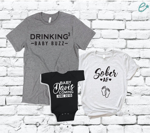 e6e7da3bd Drinking for a Baby Buzz Sober AF Baby Arriving Shirt Set Baby Announcement  Graphic Tees Mom