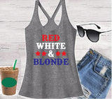 Red White and Blonde Women's T- back Tank Top Fourth of July Racer back Tank 4th Independence Day Shirt Custom Personalized Relaxed Tank