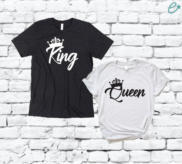 King and Queen Couples Graphic Tee Pair Shirts His and Hers Unisex T-shirt Crown