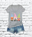 Easter Egg Gnome Shirts Polka Dot Easter Egg Print Women's V-Neck T-shirt Happy Easter Shirt Gnomie Tee