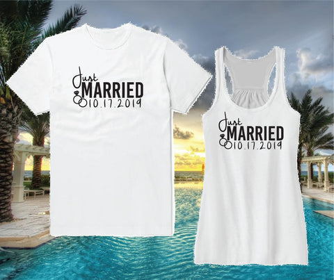 cbdfc0b2 Just Married Honeymoon Tees Wedding Date Couples Funny Graphic Tee and Tank Top  Shirt Unisex T