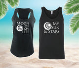 Moon of my life and My sun and stars Tank Tops Couples Shirt Set Graphic Shirts Date Fun Couple Tee Set