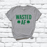 Wasted AF Print Women's V-Neck T-shirt Saint Patricks Day Shirt Custom Colors Fitted Tee Holiday Pattys Day Shamrocks