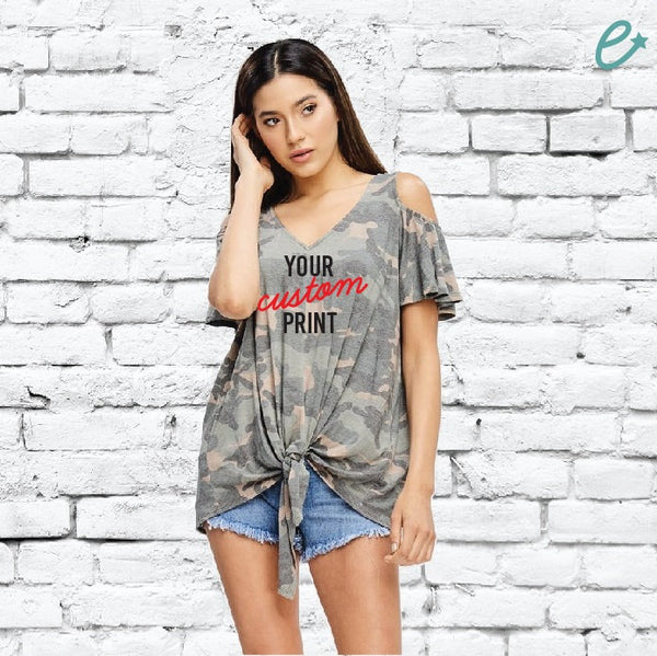 Custom Print Camo V Neck Tank Top Loose Long Fit Short Sleeve Personalized Tee Shirt Women's Front Tie Knot